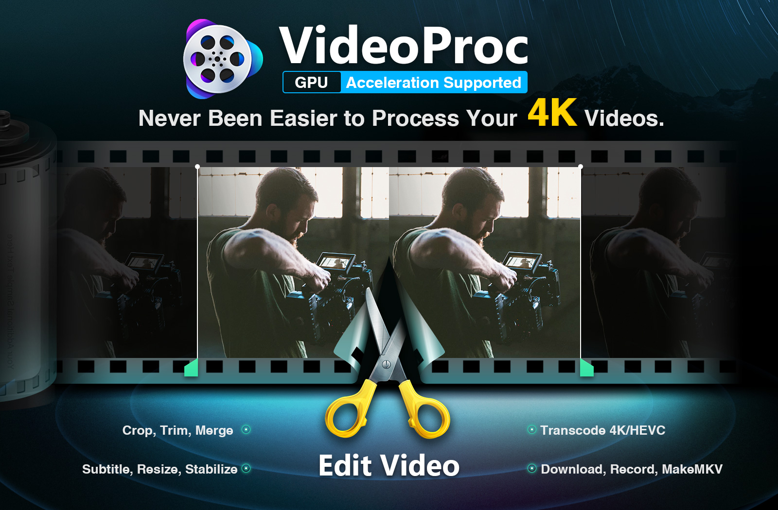 Combine and edit multiple videos at the same time: VideoProc Video Editor for Mac and Windows